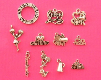 The Cheerleader Collection - 11 antique silver tone charms