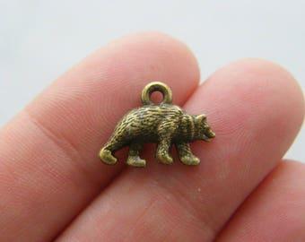 10 Bear charms antique bronze tone BC129