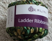 Berlini Ladder  Ribbon Yarn for Knitting and Crocheting Color 43, Greens, Olives, Gold.  Trellis type yarn.