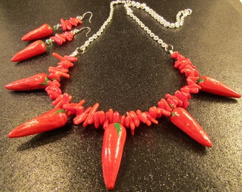 Red Coral, Silver and Red Porcelain Chili Pepper Necklace Earrings
