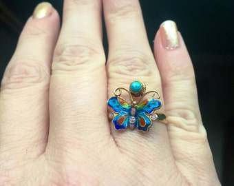 Enamel Butterfly Ring - Turquoise - Vermeil - Sterling Silver - Vintage