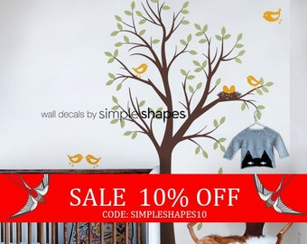 Sale - Baby Nursery Wall Decal: Tree with Birds and Nest Decal - Original Design by Simple Shapes