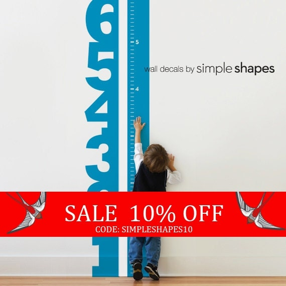 Sale - Growth Chart Numbers - Children's Vinyl Wall Decal