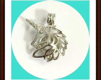 Unicorn pick a pearl setting cage silver plated Locket Pendant 3 pieces for 13.50 Oyster pearl - bead - gemstone - cage - Pick a pearl