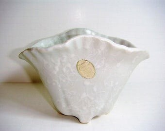 Shawnee Cameo Splatter Ware White on White Vase Clam Shell Vase Shawnee Pottery