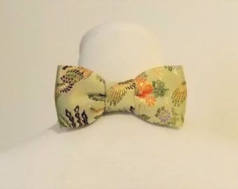 Men's bow tie made with KIMONO gold brocade light olive phenix flower brown green orange fits 15 -20inch ready to ship