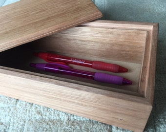 Pencil box made from reclaimed Oak