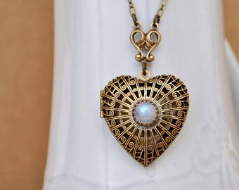 brass heart scent locket with natural moonstone, vintage brass heart locket necklace