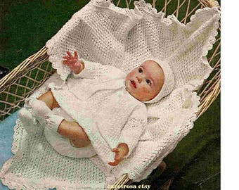Knitting Pattern - Baby shawl, Dress, Coat, Bonnet, Booties - 18in chest download
