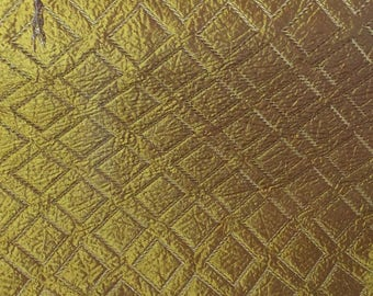 METALLIC GOLD QUILTED Silky Sateen Diamond Upholstery Fabric 2.5 yard piece, 19-47-08-039