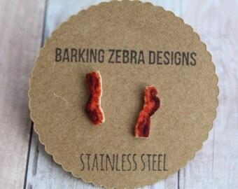 Bacon Stud Earrings | Bacon Jewelry | Bacon Strip Earrings | Food Jewelry | Funny Food Earrings | Bacon Gift | Bacon Accessories