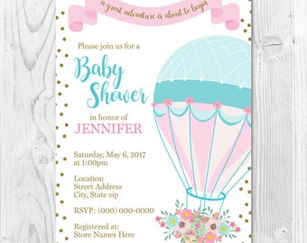 Hot Air Balloon Baby Shower Invite 4x6 or 5x7
