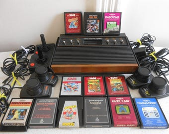 """Old Vintage Atari CX-2600 """"Heavy Sixer"""" Sunnyvale Six Switch Woody with Cords, Controllers and 12 Games/Tested and Works 70's Era"""