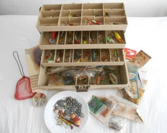 Vintage Fishing Tackle Box Full of Over 60 Lures, Hooks, Sinkers, Bottom Rings, Worms and Many Extras 60's-70's Era