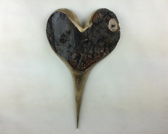Myrtle wood wooden heart wall hanging Love you more Anniversary gift by Gary Burns the treewiz handmade woodworking