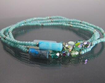MYSTIC RIVER Seed Bead Wrap Bracelet, Beaded Stretch Bracelet, Multistrand Bracelet, Layering Bracelet, Choker Necklace, Long Necklace