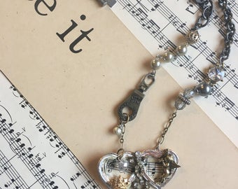 Vintage upcycled Assemblage repurposed recycled Music  Necklace