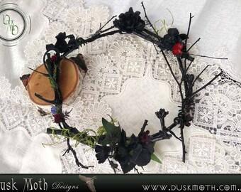 Dark, Gothic thorned red & purple faerie crown - gothic, goth, faerie, fairy, pixie, spider