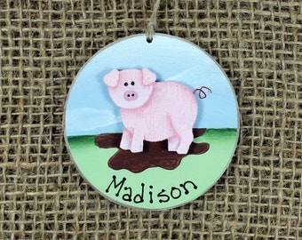 Pig Ornament~ Personalized~ Child's Name~ Keepsake Gift