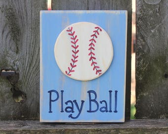 Baseball Sign ~ Baseball Block ~ Baseball Mom Gift ~ Play Ball Sign ~ Baseball Gift ~ Boy's Room Decor ~ Baseball Decor~ Baseball Room Decor