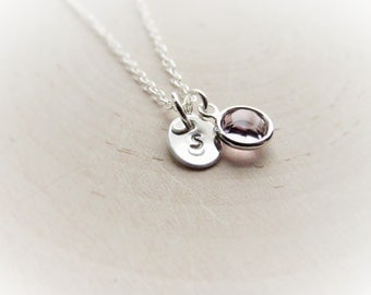 Tiny Necklace in Sterling Silver, Small Initial Necklace with Birthstone. Personalized Birthday Gift, Jewelry for Teen Girls, Dainty Jewelry