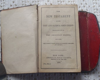 Vintage Religious Book The New Testament and Book of Psalms American Bible Society 1876
