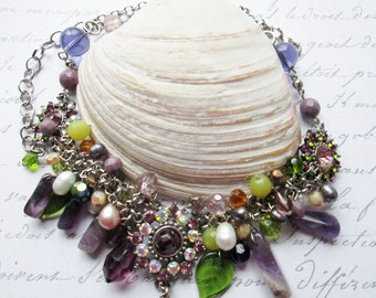 Vintage Necklace with Three Inch Peridot Pendant, Amethyst and Citrine Gemstones and Pearls - Real Life Begins with Bling Diva Necklace