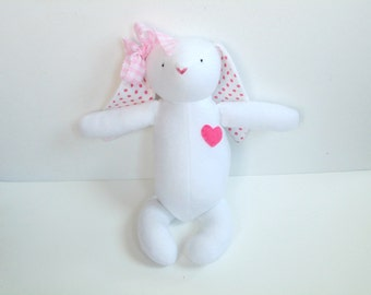 Fabric bunny rabbit, Easter bunny toy, girl bunny, white pink, softie plush, polka dots, soft bunny gift for children, Easter Rabbit