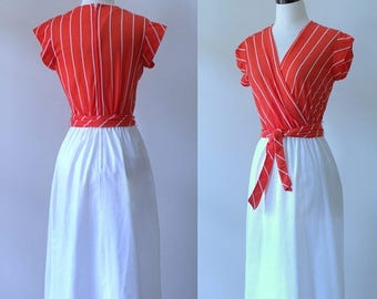 70s Dress Casual Red Dress 1970s Clothing Womens Wrap Dress 70s Clothes Red Day Dress Striped Womens Dresses A Line Size Small