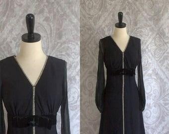 Vintage 1960s Cocktail Dress 60s Black Party Dress with Rhinestones Velvet Bow Womens Size Medium