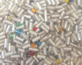 Silver Lined Glass Upcycled 5mm Bugle Beads, 85 gr.