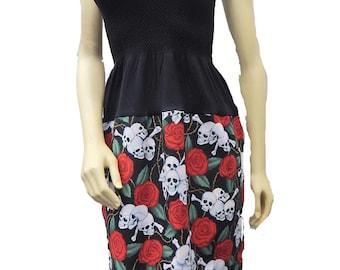 "US Handmade Fancy DRESS With ""Cute Skulls Red Roses "" Pattern, Cotton Fabrics, Uni-Size, Fits; S, M, L, XL, New"