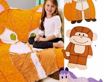 Kid's Rag Quilt Animals Pattern, Rag Quilt Fox Pattern, Rag Quilt Horse Pattern, Rag Quilt Monkey Pattern,  Simplicity Sewing Pattern 8278