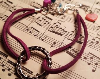 Purple suede bracelet