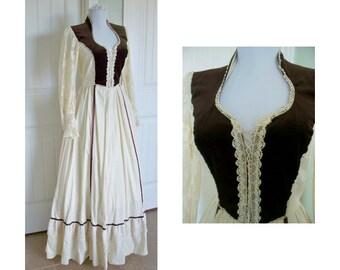 Vintage Gunne Sax brown velvet corset 70s original San Francisco dress - hippie, maxi, peasant, gypsy, dress