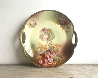 Antique Porcelain Cake Plate Royal Munich Z.S. & Co. Bavaria 955 Yellow Pink Roses Shabby Cottage 10""