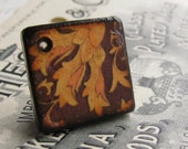 Brown leaves, 18mm wood tile, square pendant disk, handmade (1 pendant) light weight, burned edges, antiqued style, diamond shape