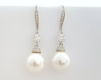Bridal Pearl Drop Earrings Wedding Jewelry Cubic Zirconia Dangle Bridal Earrings Wedding Swarovski Pearl Earrings, Ophelia Earrings