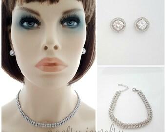 Wedding Jewelry Set Choker Style Necklace Earring Bridal Jewelry Set Wedding Bracelet 3 Piece Bridal Set Bridal Necklace Crystal, Denise