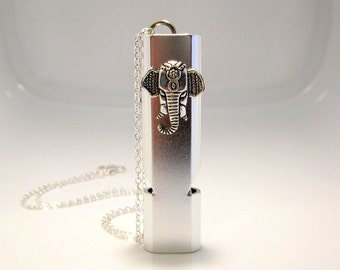 Elephant Whistle Necklace, Camping Safety Device, Self Defense Jewelry, Loud Silver Whistle, Dual Hole Design, Elephant Keychain