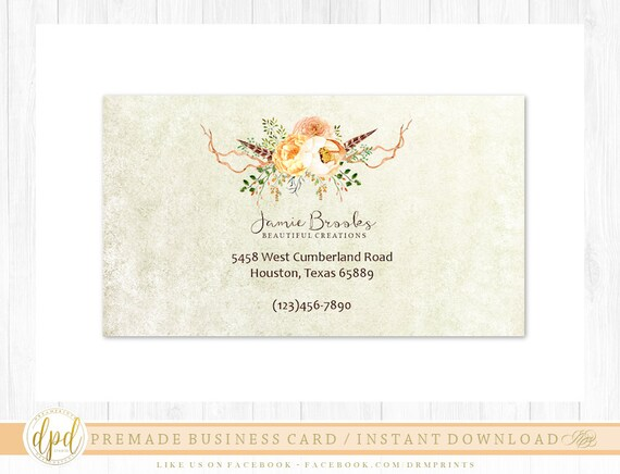 Custom Premade Blank DIY Single Sided Business Card | Business Template | Business Branding | Business Graphics | INSTANT DOWNLOAD-RB923
