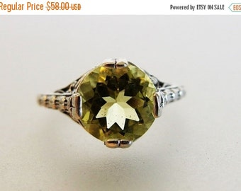 ON SALE Beautiful Deco Style Lemon Citrine Sterling Filigree Ring