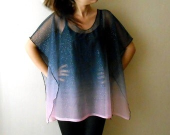 Sheer Lace Poncho, Ombre Wedding shoulder Cover Up, Dark Navy Blue Rectangular Sheer Boho Fashion,