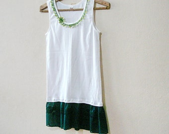 Green Lace Top Extender, Camisole lace bottom Tank top bohemian white lace tank, embellished top cotton blouse summer tshirt
