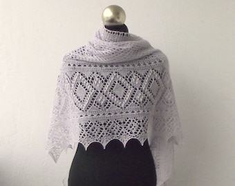 Pearl Grey hand knitted lace shawl with  nupps