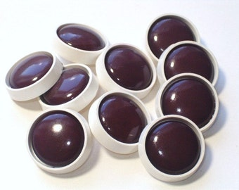 Chocolate Brown and White Vintage Plastic Shank Buttons Matching Set of 10 Sewing Buttons 20mm