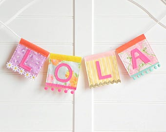 Girl Name Sign / Personalized Baby / Custom Name Sign / Personalized Gifts / Nursery Name Sign / Baby Name Sign / Name Banner / Girl Banner