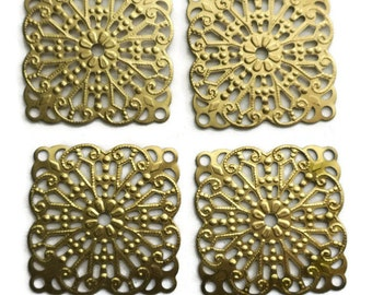 Vintage Filigree Square Findings Victorian Base Settings Antique Brass USA N978F