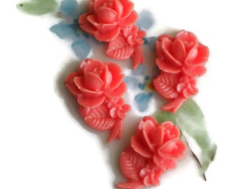 Vintage Cabochons Rose Carved Shabby Floral Cabs Flowers Orange Peach. #1621