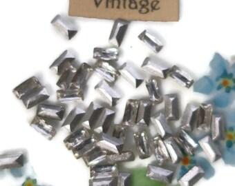 Crystal Antique Rhinestones Baguettes Stones 5x3mm Western Germany Vintage Rectangle Findings Art Nouveau  Victorian #1040B